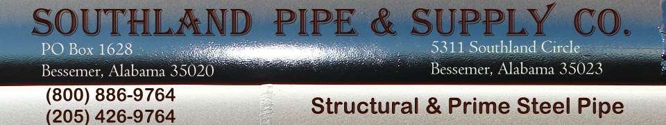General Data: Pipe Sizes, Weights & Specifications Chart SOUTHLAND PIPE & SUPPLY CO, Alabama